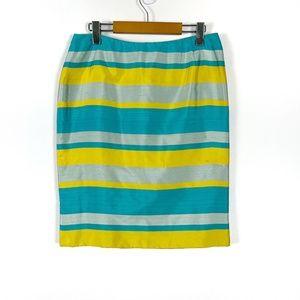Vintage Oscar de la Renta Silk Striped Skirt 12